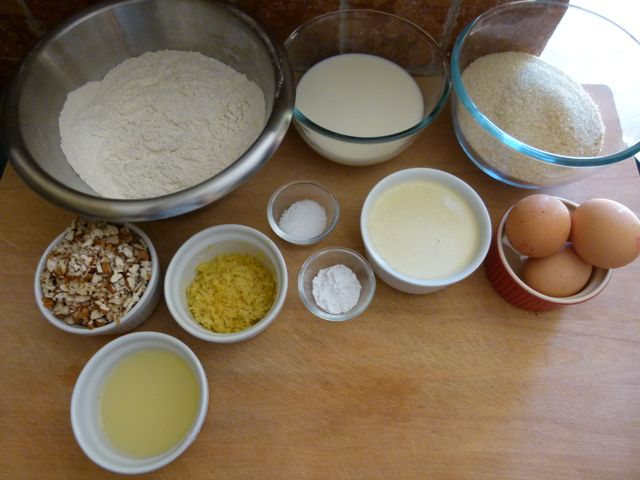 Flour, Sugar, Milk, Butter, Eggs, Lemon zest, Lemon juice, Pecans, Salt and Baking Powder