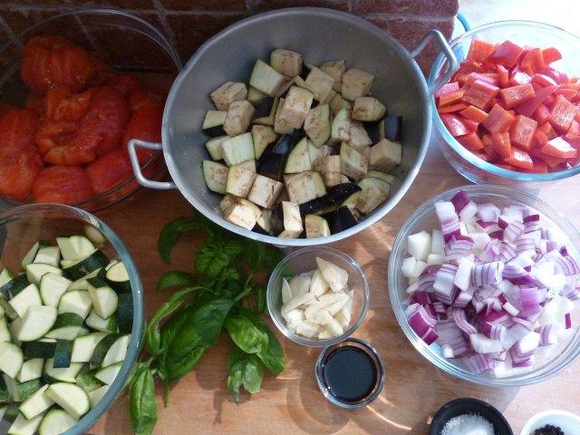Mise en place of Ratatouille ingredients