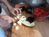 Eggplant cut into big pieces
