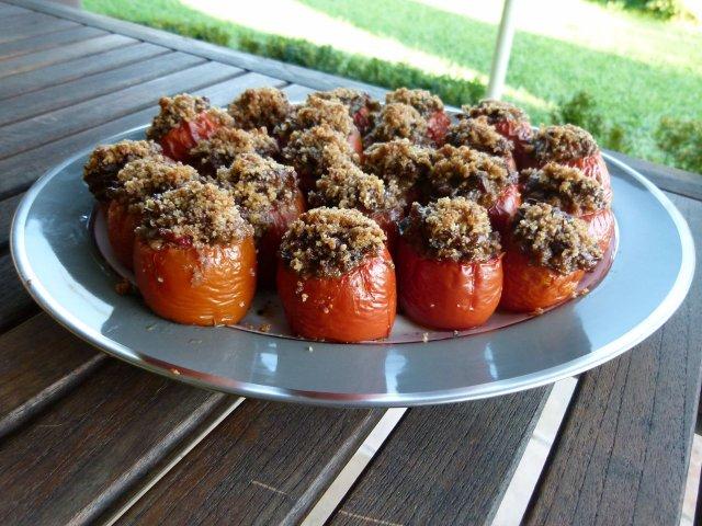 Full plate of stuffed tomatoes