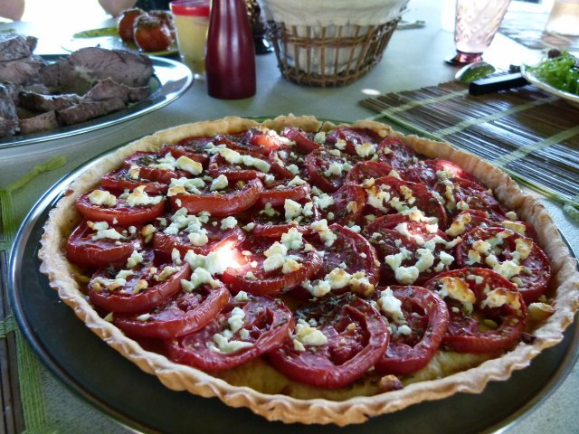 Tomato Tart closeup at table