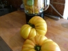 Mise en place for the recipe of Yellow Tomato Gaspacho