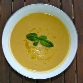 Yellow Gazpacho with Basil Olive Oil