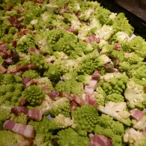 Roasted Romanesco with Capers and Pancetta
